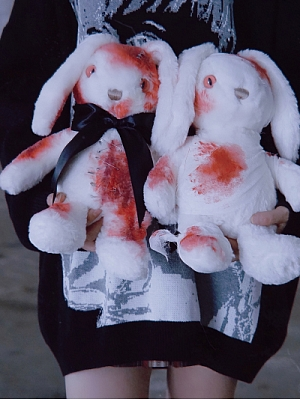 Handmade Plush Bloody Bunny Doll by Strange Sugar