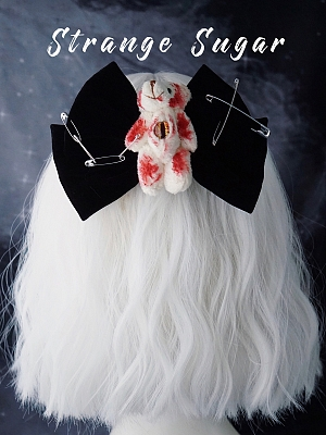 Handmade Halloween Bloody Teddy Big Velvet Bowknot Hairclip by Strange Sugar