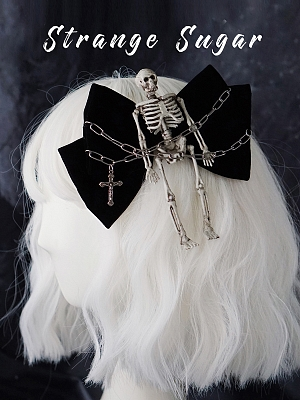 Handmade Gothic Skeleton Bowknot Hairclip by Strange Sugar