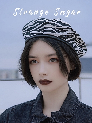 Zebra-stripe Beret by Strange Sugar