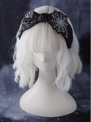 Handmade Dark Gothic Subculture Bowknot Spider Web Embroidery KC by Strange Sugar