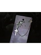 Handmade Halloween Dark Gothic Punk Bat Cross Chain Single Earring by Strange Sugar