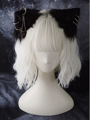 Handmade Cat Ears Hairclip Decorated with Metal Chain by Strange Sugar