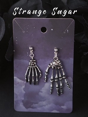 Handmade Halloween Dark Punk Hand Bone Earrings by Strange Sugar