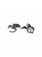 Handmade Halloween Dark Gothic Punk Evil Dragon Asymmetrical Stud Earrings by Strange Sugar