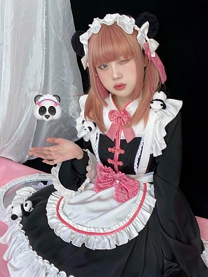 Maid Panda Housekeeper Lolita Dress Matching KC / Hairclips by Stasera