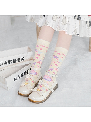 Bunny Carnival Lolita Knitted Socks/Stockings by Stellar Winds of the Universe