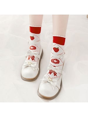 Strawberry Donut Lolita Knitted Socks by Stellar Winds of the Universe
