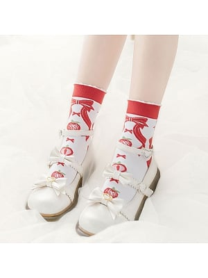 Strawberry Jam Lolita Knitted Socks by Stellar Winds of the Universe