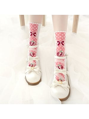 Mousse Strawberry Lolita Knitted Socks by Stellar Winds of the Universe
