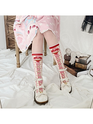 Cherry Honey Lolita Knitted Stockings by Stellar Winds of the Universe