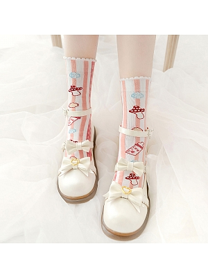Puff Rattle Lolita Knitted Socks by Stellar Winds of the Universe