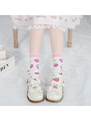 Strawberry Ocean Ball Lolita Knitted Socks by Stellar Winds of the Universe