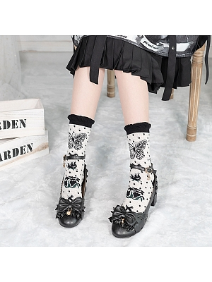 Butterfly Rose Lolita  Knitted Socks by Stellar Winds of the Universe