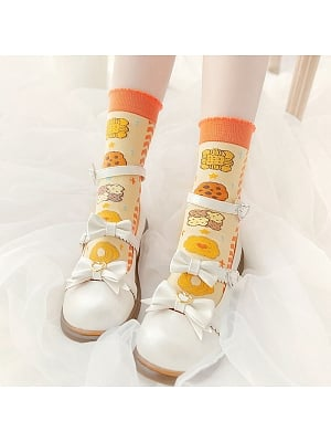 Colorful Cookies Lolita  Knitted Socks by Stellar Winds of the Universe