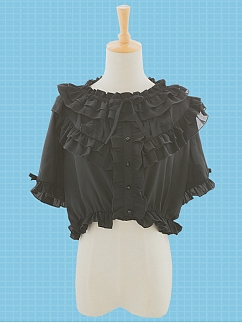 Summer Rose Chiffon Lolita Blouse by Stellar Winds of the Universe