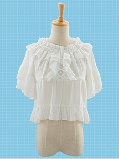 Sweet Cream Tower Chiffon Lolita Blouse by Stellar Winds of the Universe