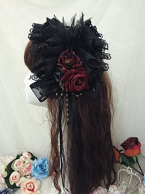 Handmade Gothic Lolita Feather Rose KC by Sweet Jelly Lolita