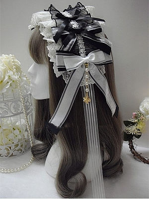 Handmade Gothic Lolita Gorgeous Bowknot Bead Chain Lace Hairband by Sweet Jelly Lolita