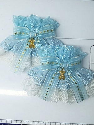 Handmade Sweet Lolita Light Blue Cute Bear Lace Bowknot Wristcuffs by Sweet Jelly Lolita