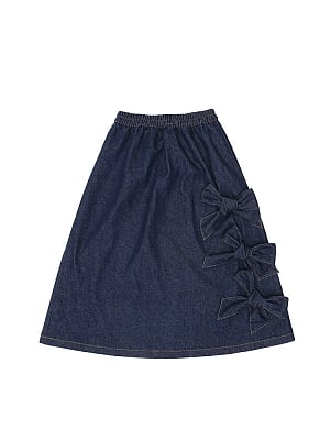 Barney Cake Denim Skirt with Bowknots by To Alice