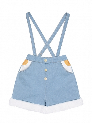 Sunny Day Poached Egg Overall Short Pants by To Alice