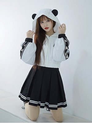 Panda Sportswear Zipper Hoodie / Skirt by To Alice