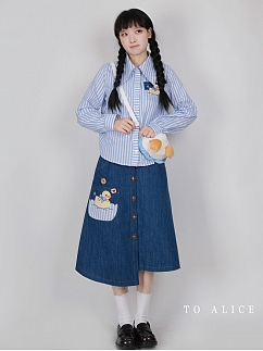 Happy Duck Together Blue Stripe Shirt / Asymmetric Skirt by To Alice