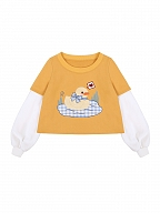 Happy Duck Together Patchwork Long Sleeves Sweatshirt by To Alice