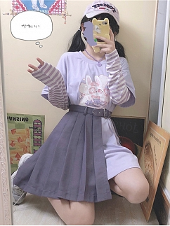 Mobile Clinic Purple Long T-shirt / Asymmetric Skirt by To Alice