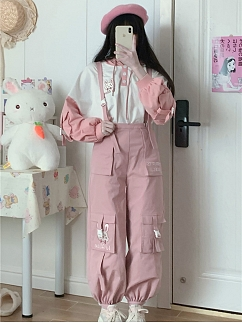 Bunny Gaming Pink Hoodie / Overall Pants Set by To Alice