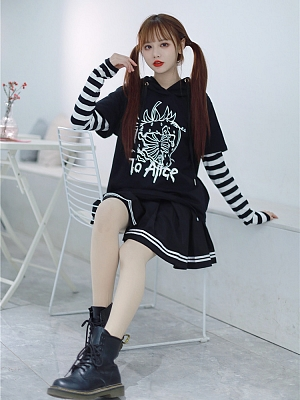 Strawberry Skeleton Patchwork Stripe Sleeve Hoodie / Skirt Set by To Alice