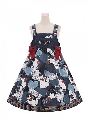 Cow Cat Denim Lolita Overall Dress JSK by To Alice