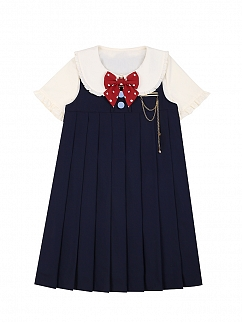 Round Neckline Cute Overall Dress by To Alice