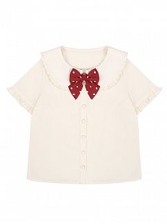 Peter Pan Collar Short Sleeve Beige Shirt by To Alice
