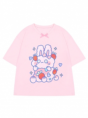 Crying Bunny Prints Round Neckline Short Sleeve T-shirt by To Alice