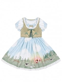 Shepherd Girl Short Puff Sleeve Lolita Dress OP / Vest Set by To Alice