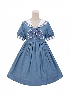 Little Navy Sailor Collar Lolita Dress OP by To Alice