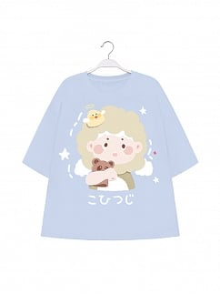 Little Sheep Prints Round Neckline Short Sleeve T-shirt by To Alice