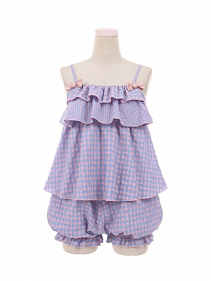 Good Night Purple Plaid Cami Top / Bloomers Loungewear Set by To Alice
