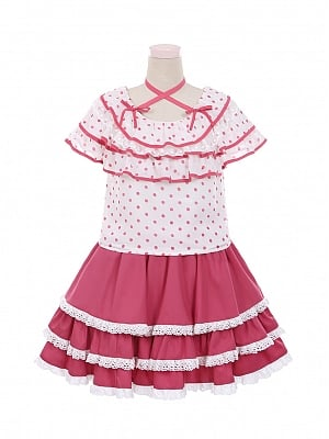 Pink Ribbon Sweet Flounce Neckline Lolita Top / Skirt Set by To Alice
