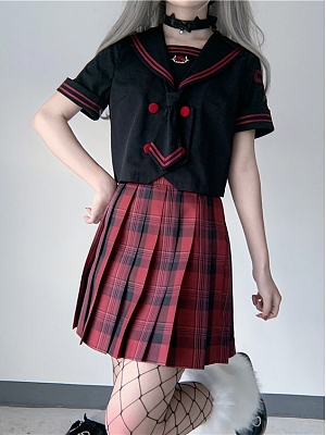 Rose and Gun JK Uniform Sailor Collar Top / Pleated Skirt Set by To Alice