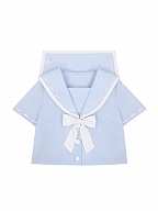 Paper Airplane Sailor Collar Top / White Pleated Skirt Set by To Alice