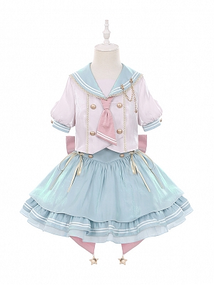 Star Girl Sailor Collar Top / Puffy Skirt Lolita Set for Kids by To Alice