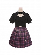 Judgment of the Moon Sweetheart Neckline Top / Plaid Pleated Skirt Set by To Alice