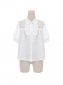Flounce front Short Sleeves Chiffon Lolita Shirt by To Alice