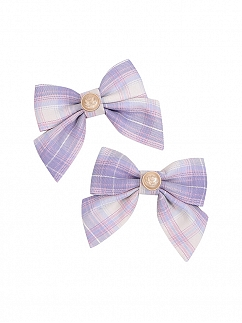 Plaid Lolita Bowknot Hairclips / Bow Tie by To Alice