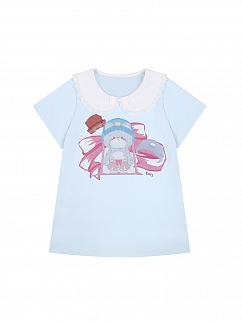 Bear Prints Peter Pan Collar Short Sleeves T-shirt by To Alice