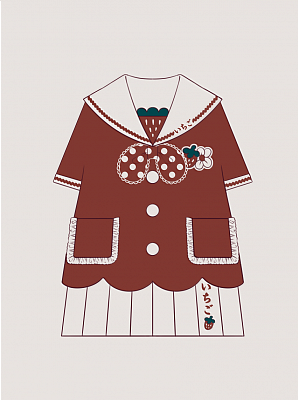 Strawberry Kindergarten Sailor Collar Top / Pleated Skirt Set for Kids by To Alice