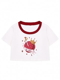 Strawberry Sword Prints front Round Neckline T-shirt by To Alice